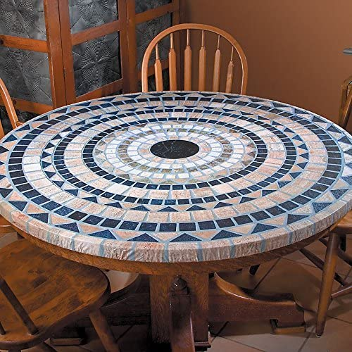 Palos Designs Vesuvius Stone Pattern Mosaic Table Cover – Fits Round 36 Inch To 48 Inch Tables – Blue And Tan Design