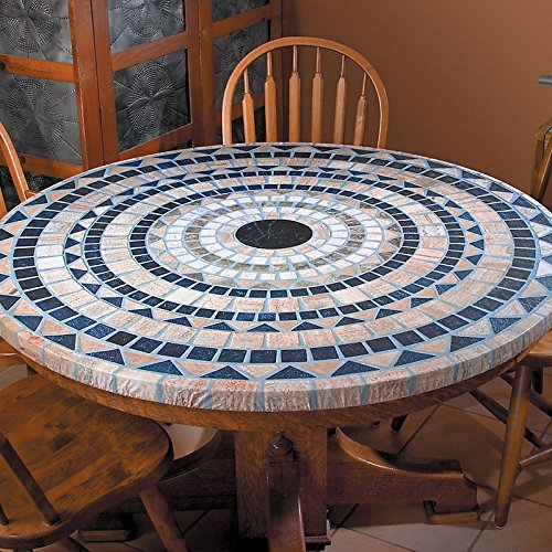 Palos Designs Vesuvius Stone Pattern Mosaic Table Cover -  Fits Round 36 Inch To 48 Inch Tables  - Blue And Tan - Edged Cut Vinyl