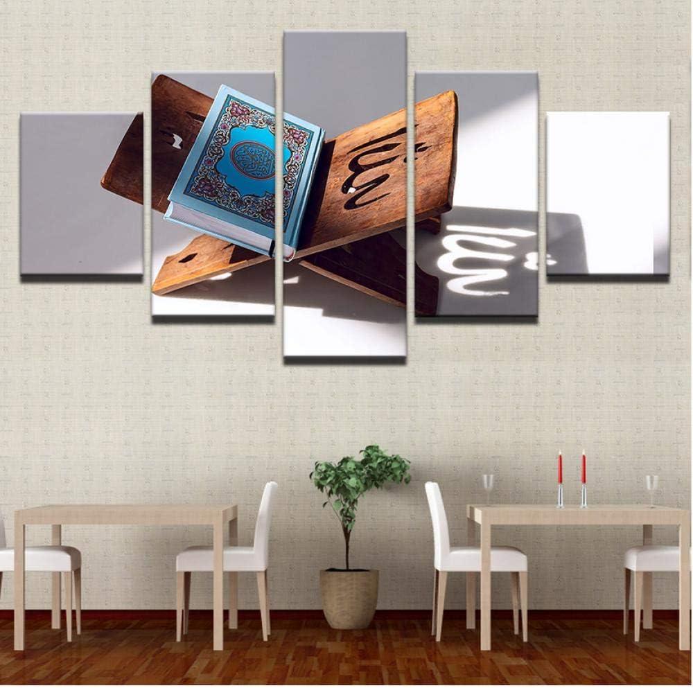 Shopxi Murales sobre Lienzo-Carteles Impresos modulares-Murales-Decoración del hogar con Fotos-5 Cuadros Abstractos-Libros refractan la luz