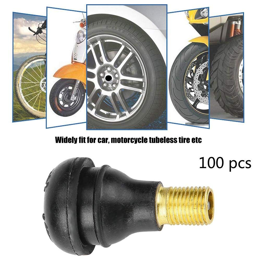 TR413 100 PCS Tyre Tire Valves Snap In Tire Tyre Valve Stem Car Motorcycle Universal Replacement Snap in Tire Tyre Valve Stem