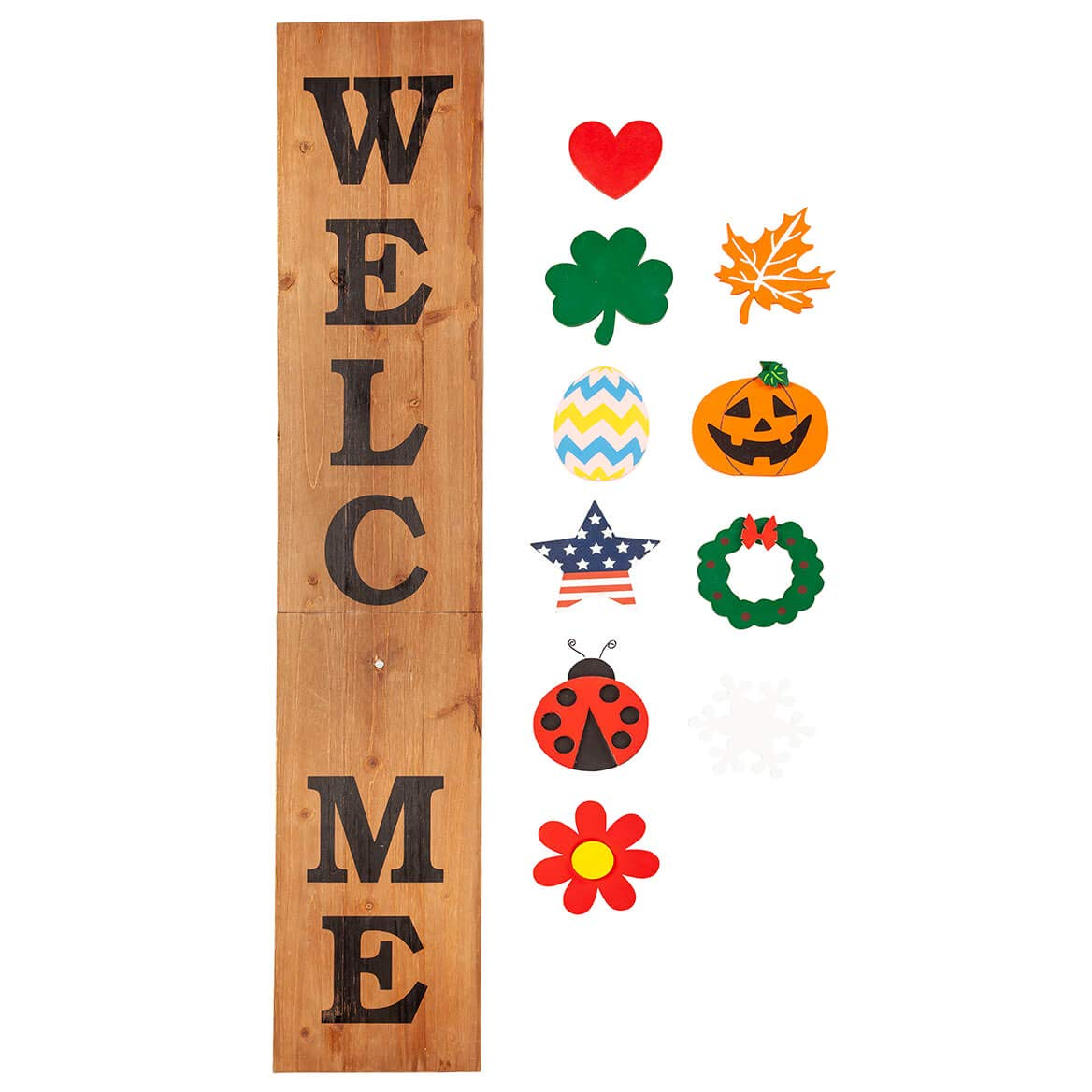 Fox Valley Traders Folding Wooden Welcome Sign, Including 10 Interchangeable Holiday Shapes with Magnets