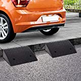 "HOMCOM Set of Two Rubber Car Curb Ramps - 19"" L x"