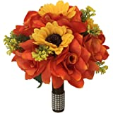 """9"""" Wedding Bouquet - Orange roses and Yellow sunflowers - Artificial Flowers"""