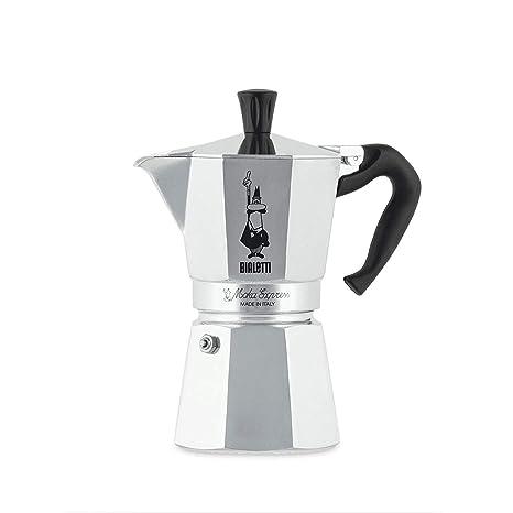 Bialetti Moka Express-Cafetera de expreso, Aluminio, Plateado, 6 Tazas