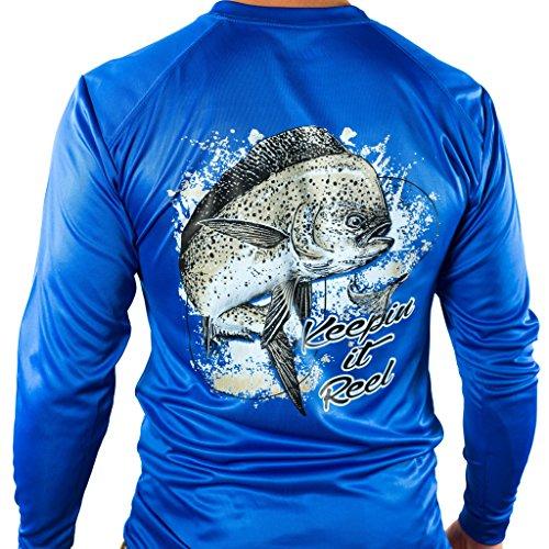 All-American Fishing Performance Dri Fit Shirt - Mens Long Sleeve Large Blue