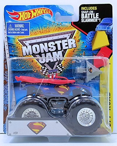 2015 Monster Jam Superman Man of Steel Monster Truck 1:64 Escala Incluye Snap en Battle Slammer