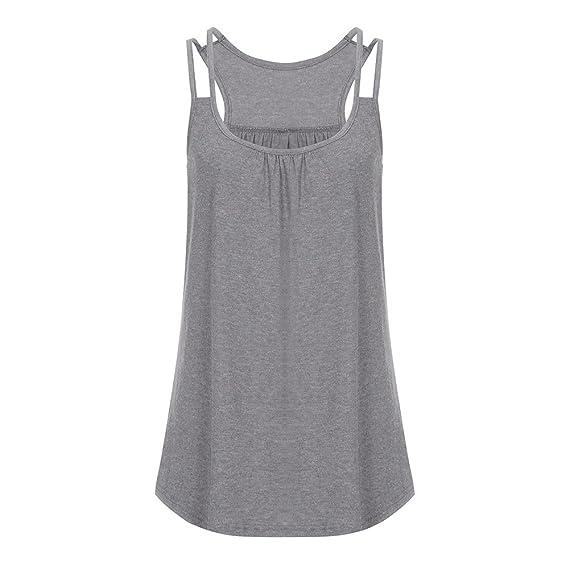 Camisetas Sin Mangas para Mujer Blusa Mujer ️️Camisas Elegante de Color Puro Camisetas de Verano Tops