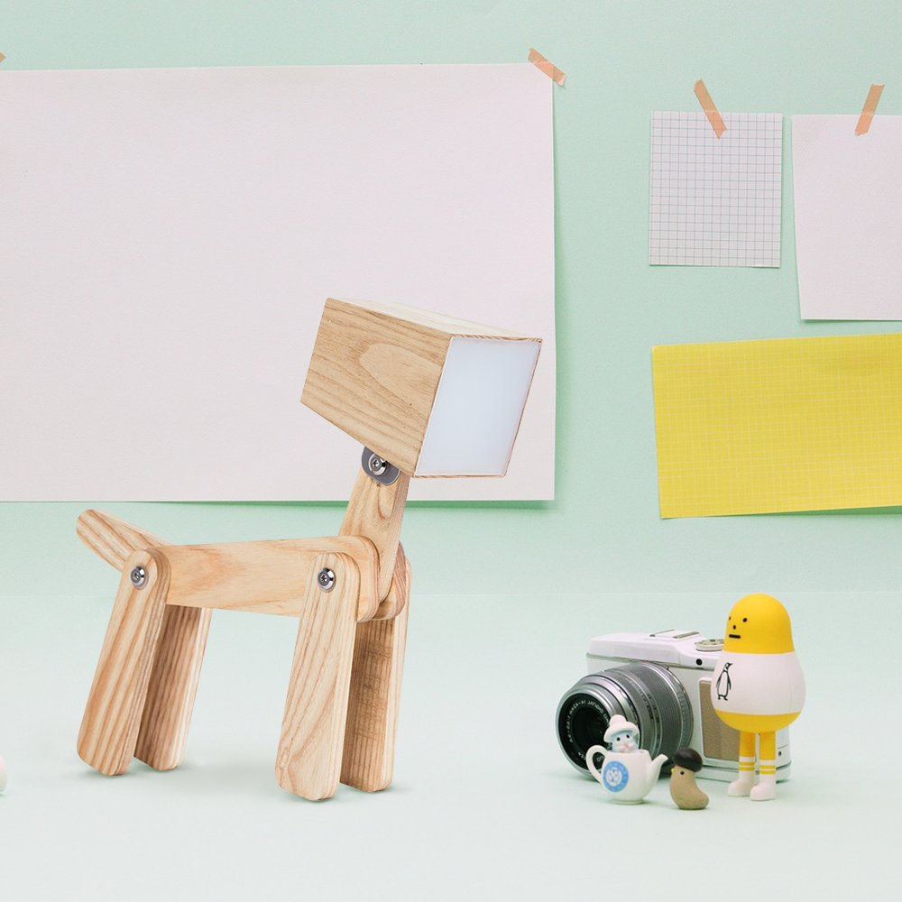 HROOME Modern Cute Dog Adjustable Wooden Dimmable Beside Desk Table Lamp Touch Sensor with Night Light for Bedroom Office Kids (Wood Body-Neutral Light 4000-5000k) by HROOME (Image #9)