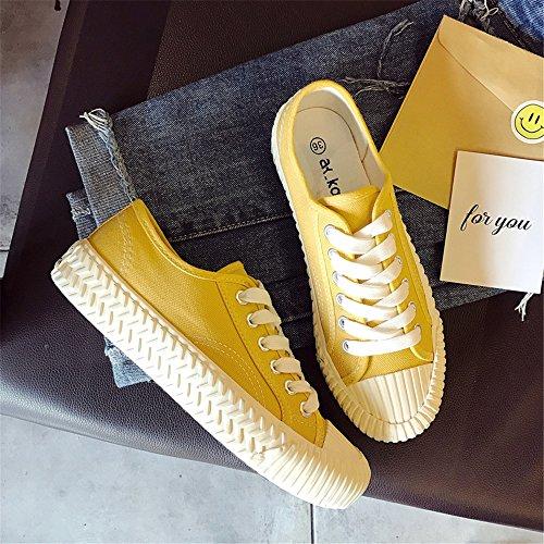 Womens Sneaker Fashion Yellow Shoe Classic Canvas Lace rFZqwnra