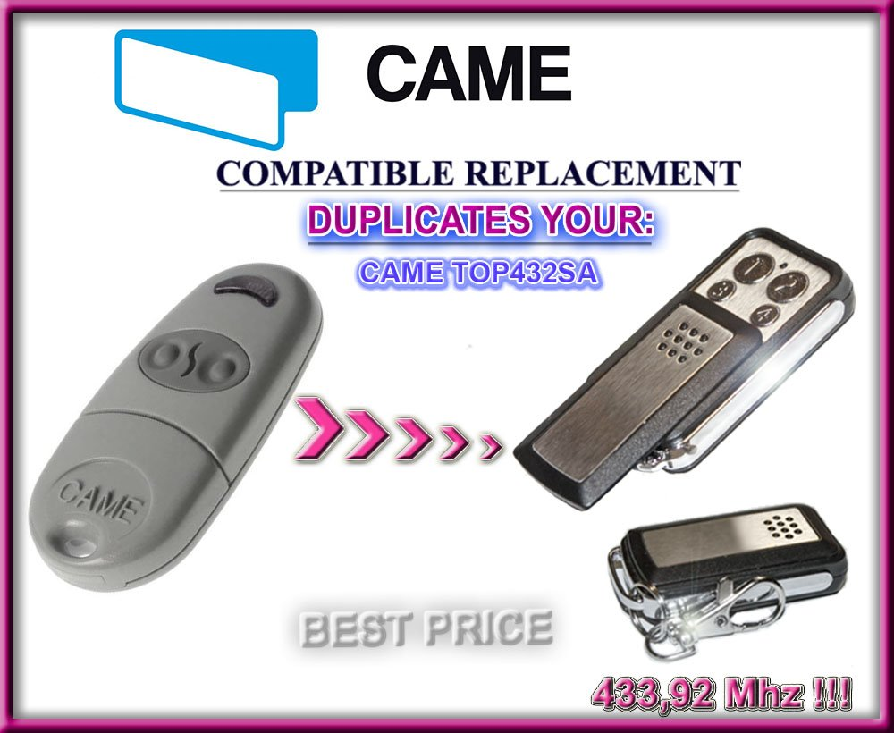 CAME TOP432SA Compatible Mando a distancia, Clone transmisor para puerta de garaje automatización, calidad superior llavero, 433,92mhz, para códigos fijos clone.