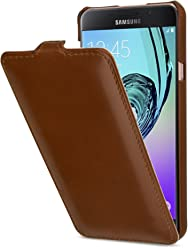 StilGut UltraSlim Case, Custodia in Pelle per Samsung Galaxy A7 (2016), Cognac