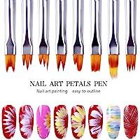 8 Pcs Nail Brush Pen Gradient Painting Brush Set UV Gel Flower Drawing Pen Purple Handle Manicure Nail Art Polish Pen…