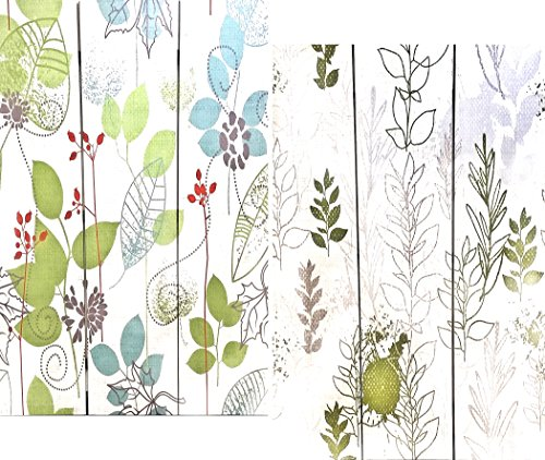 Home and Kitchen - 3-Panel Double Sided Painting Canvas Room Divider Screen Abstract Green Leaf