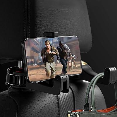 QRemix Car Headrest Hook with Phone Holder,Car Vehicle Back Seat Headrest Hook Storage for Purse Groceries Bag Handbag-Red