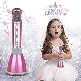 Micrófono Bluetooth Inalámbrico, Micrófono Karaoke para Niños Micrófono Portátil con Altavoz, Micrófono para KTV Compatible con iPhone iPad PC Android iOS (Rosado)