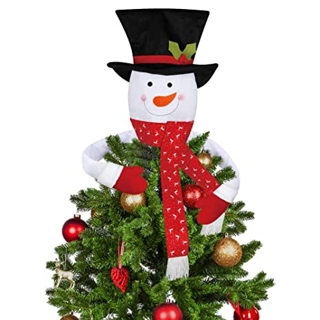size 40 d48e8 3d226 D-FantiX Snowman Christmas Tree Topper, Large Top Hat Snowman Tree Topper  Outdoor Indoor Novelty Christmas Decorations Xmas Holiday Winter Wonderland  ...