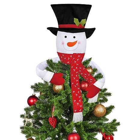 Christmas Top Hat Ornaments.D Fantix Snowman Christmas Tree Topper Large Top Hat Snowman Tree Topper Outdoor Indoor Novelty Christmas Decorations Xmas Holiday Winter Wonderland