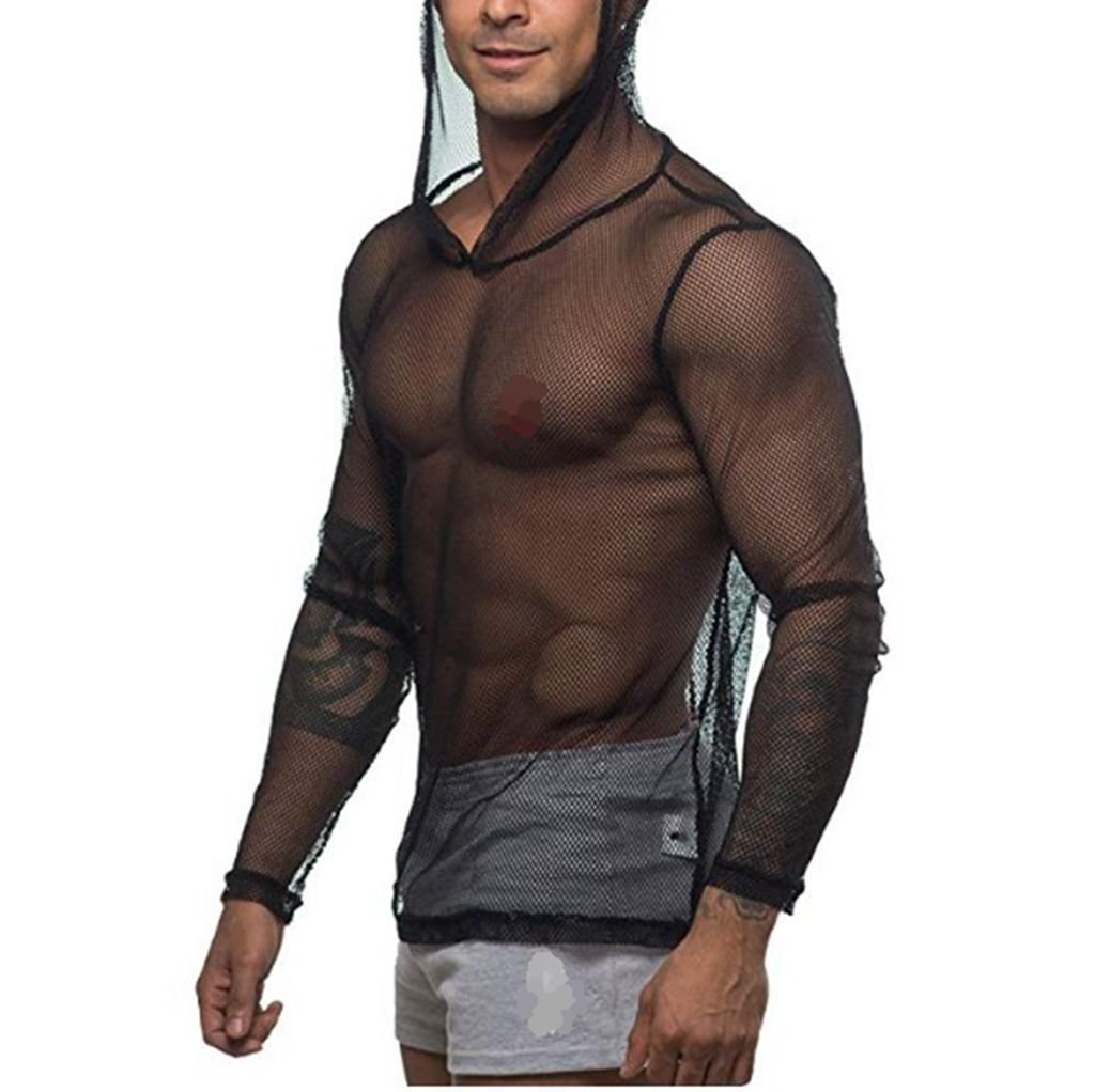YiZYiF Men's See Through Fishnet Clubwear Short Sleeve T-Shirt Undershirt (Medium, Hoodie Black)