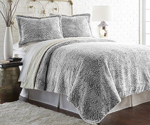 Amrapur 5FXSRTRG-CHR-KG 3 Piece Charcoal Faux Fur/Sherpa Comforter Set,