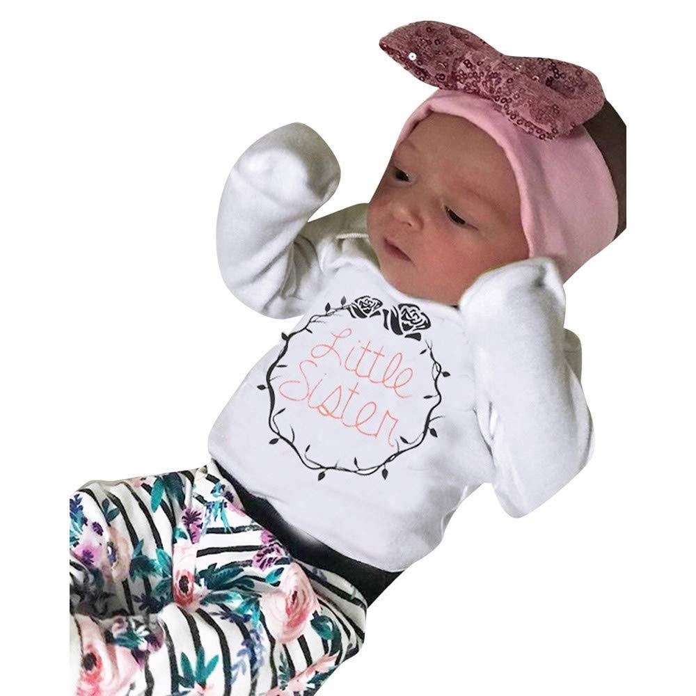 WARMSHOP No Shipping,Little Sister Toddler Girls Long Sleeve Letter Print Romper+Floral Stripe Print Pants+Headbands Clothing