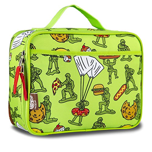 LONE CONE Kids' Insulated Fabric Lunchbox in Fun Patterns, Food Fighters (Army - Bag Lid Lunch Velcro