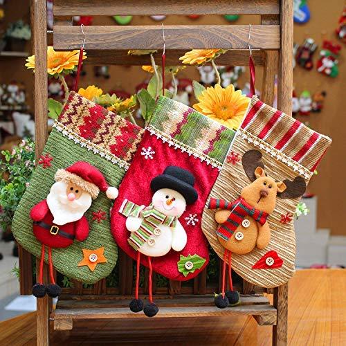 Ecolive Christmas Stocking 3 Pcs Set Santa Snowman Reindeer Fireplace Stockings Plush 3D Applique Christmas Decorations Party Accessory Mantel Decorations Christmas Tree Ornaments