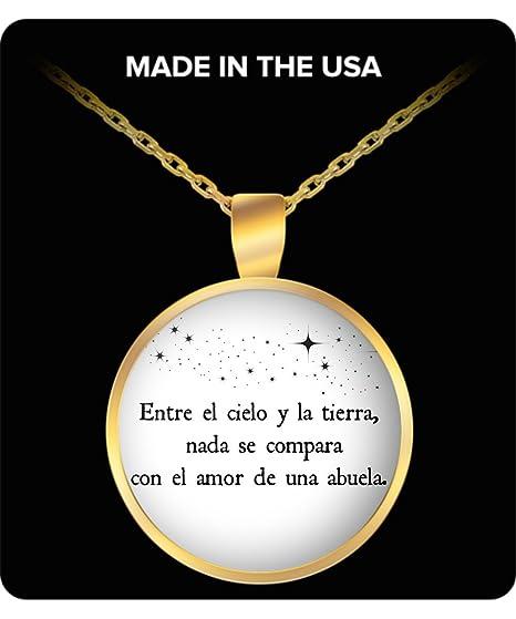 Regalo para abuela - Entre el cielo y la tierra, nada se compara con el amor de una abuela - pendant necklace for Grandmother - Spanish gifts for Gran