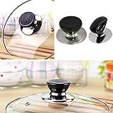 niceeshop(TM) Pot Lid Cover Knob Handle Universal Kitchen Replacement Cookware Lid Holder,Black+Sliver (Pack of 2)