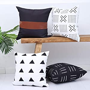 Kiuree Black and White Boho Decorative Throw Pillow Covers Set of 4 Geometric Farmhouse Decor Pillow Covers for Couch, Sofa, or Bed 100% Cotton Canvas and Faux Leather Accent 18x18 Inch