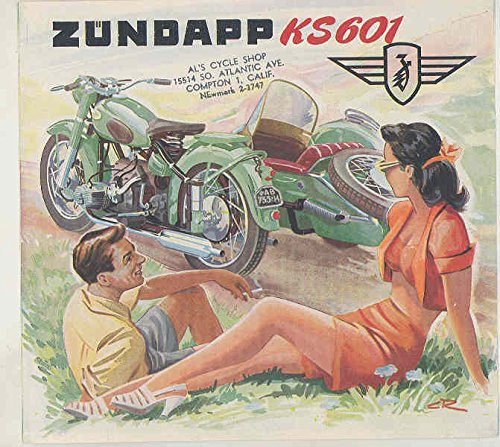 1956 1957 Zundapp 600 KS601 Motorcycle & Sidecar Brochure for sale  Delivered anywhere in USA