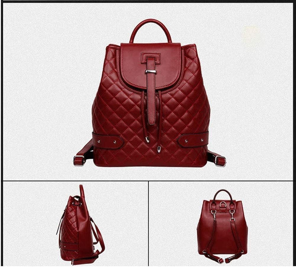 Zaino da donna, tracolla in pelle stile europeo e americano borsa a tracolla in pelle borsa da viaggio in pelle da donna Red