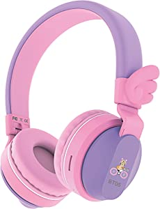 Riwbox BT05 Bluetooth Kids Headphones Wireless Foldable Headset Over Ear with Volume Limited and Mic/TF Card Compatible for iPad/iPhone/Tablet (Purple&Pink)