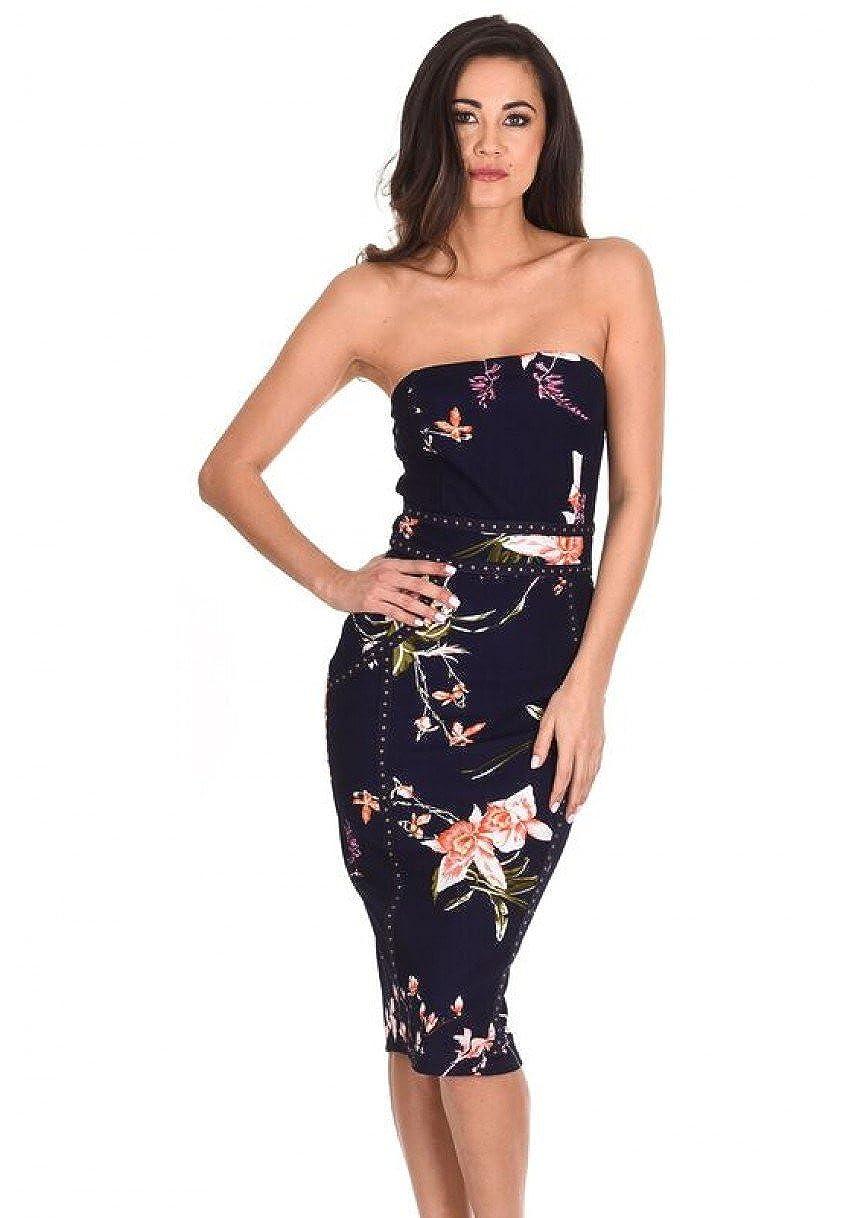7bdf567065ae Top1: AX Paris Women's Floral Bandeau Bodycon Midi Dress