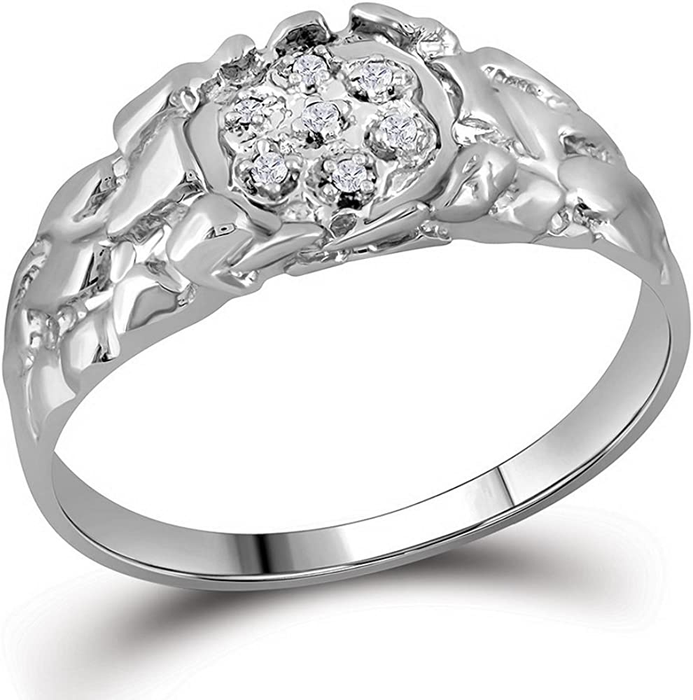 Sterling Silver Round Diamond Cluster Ring 0.09 Cttw