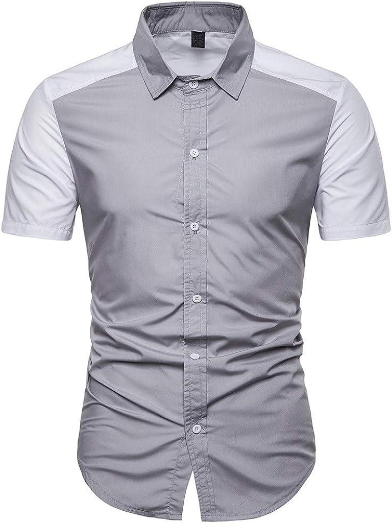 HCFKJ Camisetas Hombre Camisas De Corte Slim Casuales De Patchwo para Hombres Camisa con Cuello Alto Y Manga Corta Top Blusa: Amazon.es: Ropa y accesorios