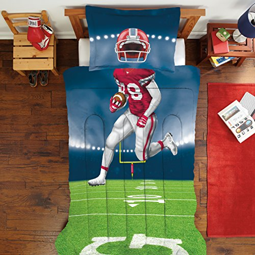 Football Comforter (Dream Big Football Player Comforter Set, Twin/Full, Navy)