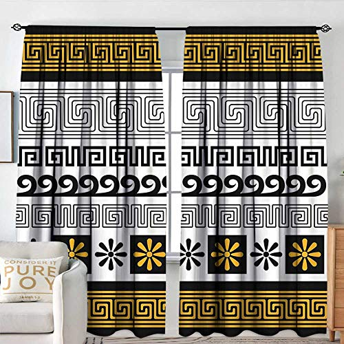 NUOMANAN Decor Room Darkening Wide Curtains Greek Key,Set of Traditional Ornaments from Greece Historical and Cultural Theme,Marigold Black White,Insulating Room Darkening Blackout Drapes 100