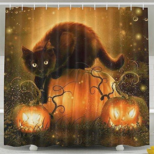 Halloween Pumpkin Bat Cat Shower Curtain Fabric Bathroom Shower Curtain Set,72x60 Inch