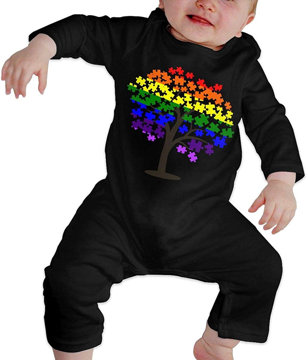 Autism Awareness LGBT Flag Tree Baby Boy Bodysuits One Piece Baby Rompers