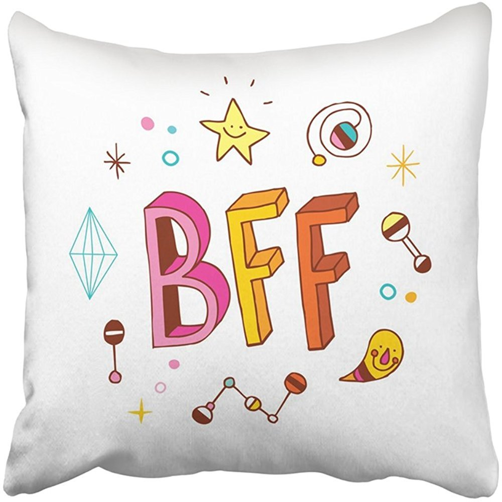 Throw Pillow Cover 18X18 Inch Polyester Doodle Bff Best Friends Forever Friendship Teen Childhood School Symbol Buddy Fun Decorative Pillowcase Two Sides Square Print For Home
