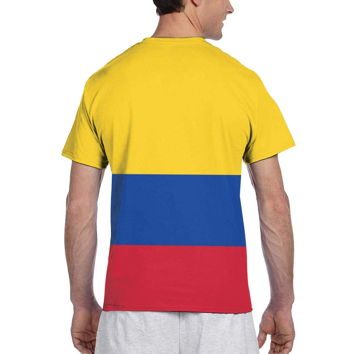 Zhgrong Men tee Shirts Flag of Colombia Short Sleeve T-Shirts Crew ...