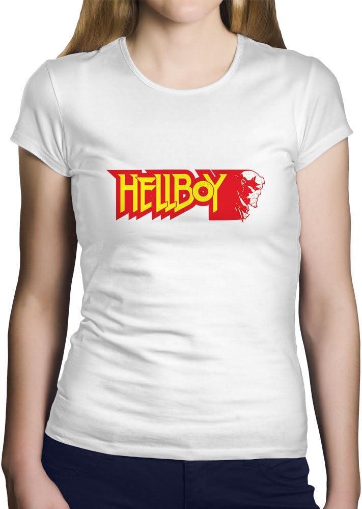 OKAPY Camiseta Hellboy. Una Camiseta de Mujer con el Emblema de Hellboy EN Color Rojo. Camiseta Friki de Color Blanca: Amazon.es: Ropa y accesorios