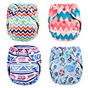 Thank u Mom Pocket Newborn Cloth Diapers for Less Than 12pounds Baby 4 Pack (Minky Prints)