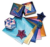 Hygloss Products 464927 Fantasy Foil Embossed Origami Paper, 6'' x 6'' Size, Assorted Color