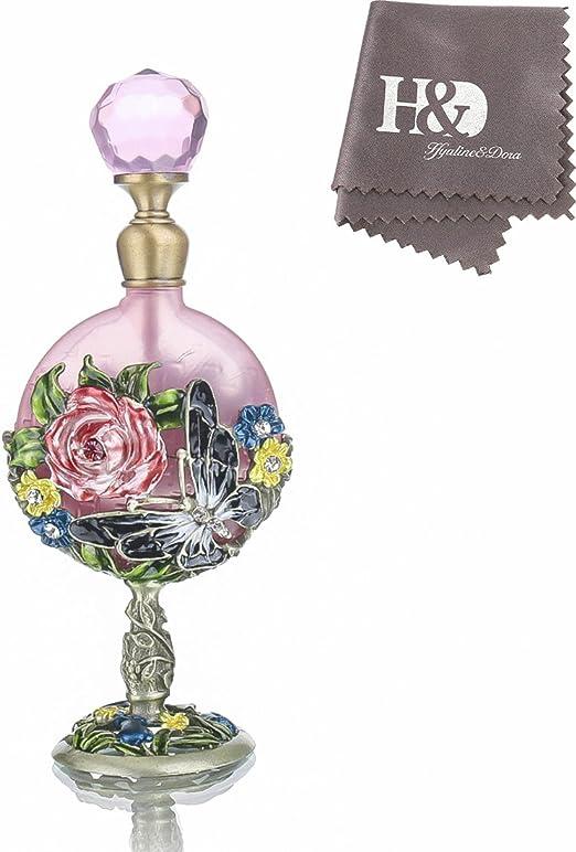 Oval shape pink glass perfume bottle   Etsy