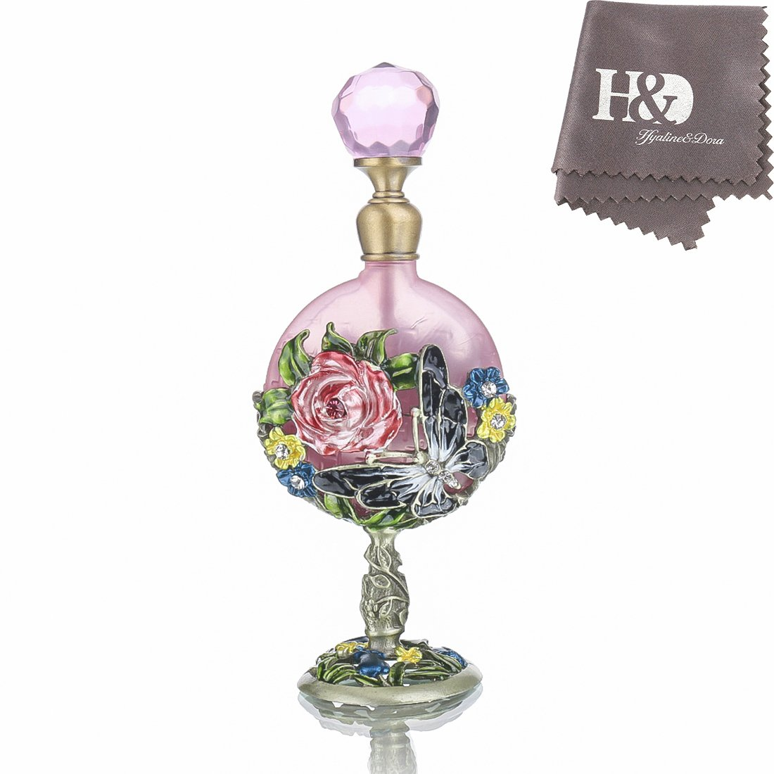 H& D 7ml Vintage Perfume Bottle Fancy Pink Rose Pattern Restoring Ancient Antique Perfume Bottles Empty Refillable Handmade Ornament cute pink LTD