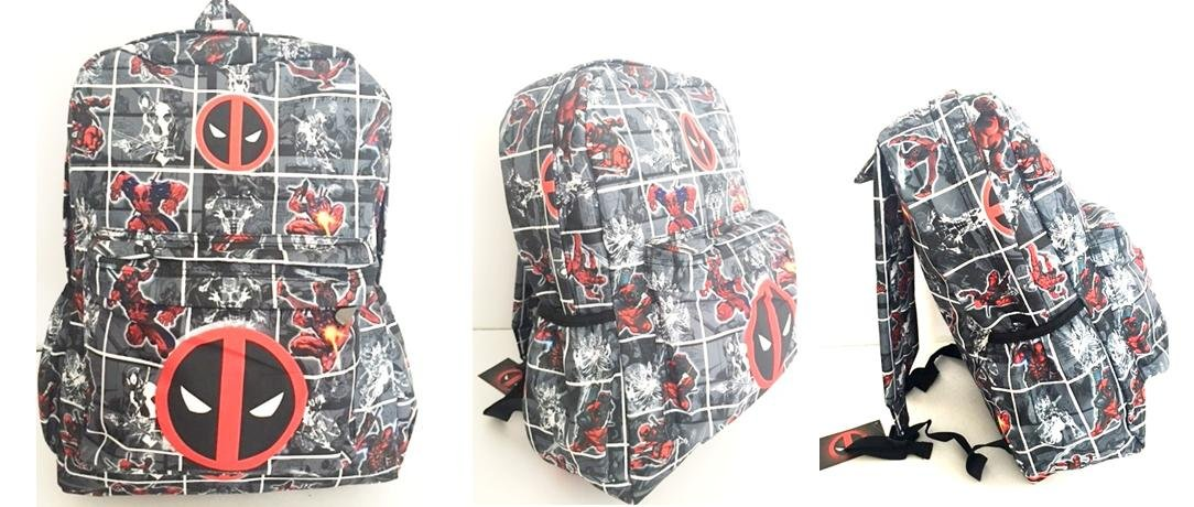 Marvel Deadpool Comic Full Size Backpack 16'' (Grey) by DY