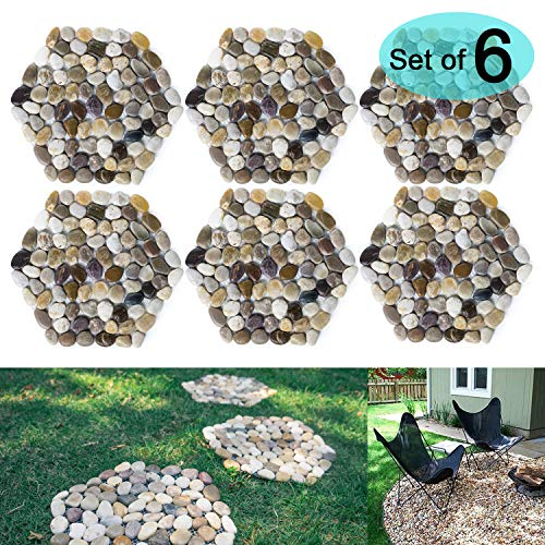 (SUNFACE River Rock Stepping Stones Pavers Outdoor for Garden, Set of 6 (Hexagon))