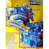 DC Super Friends Batman and Superman Reversible 4 Piece Toddler Bedding Set