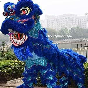 Pure Wool Blue Lion Dance Costume Equipment Wushu Performance Lion Dancing Costume
